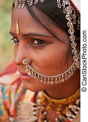 tradicional, saree, niña, indio, retrato