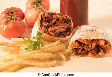 tradicional, shawarma, envoltório, com, galinha, e, legumes