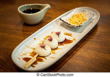 tradicional, sobremesa, japoneses, mochi