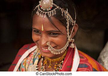 tradicional, sonriente, sari, indio, hembra