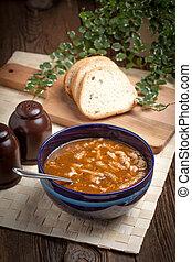 tradicional, sopa, tripa, vegetales, polaco