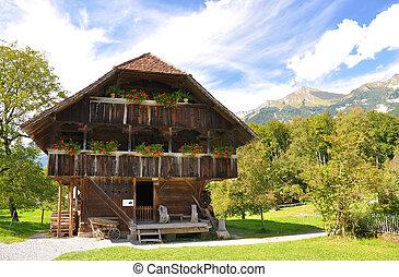 tradicional, suíço, casa rural