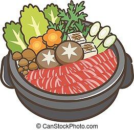 tradicional, sukiyaki, olla, molde, japonés, hierro
