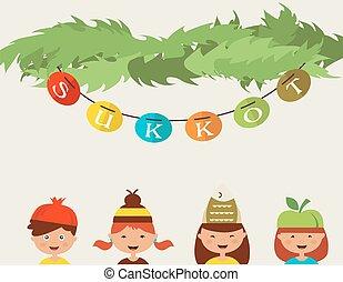 tradicional, sukkot., sombreros, disfraz, feliz, sukkah, niños