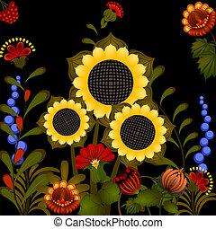 tradicional, sunflower., ornamento, eps10, ucranio