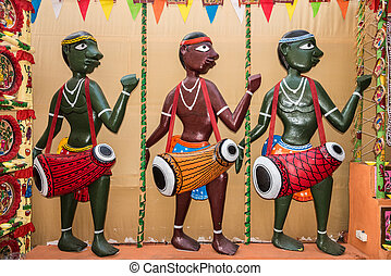tradicional, títeres, músico, gente