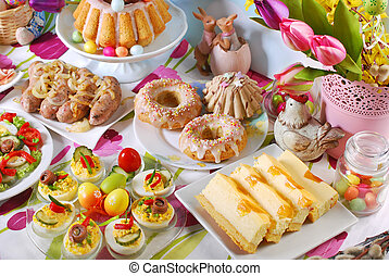 tradicional, tabla, desayuno, pascua, festivo