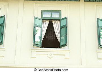 tradicional, tailandês, estilo, janela
