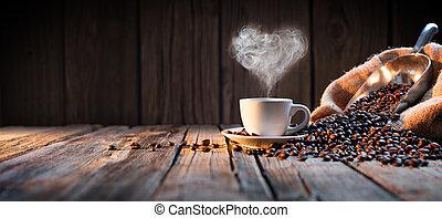 tradicional, taza para café, con, corazón