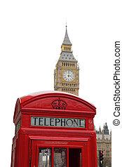 tradicional, teléfono rojo, cabina, en, londres, con, el, big ben