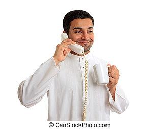 tradicional, telefone, homem, étnico, negócio, falando