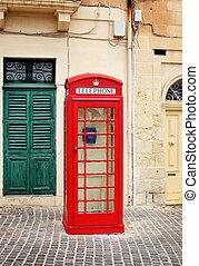 tradicional, telefone vermelho, barraca, em, malta