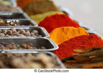 tradicional, temperos, mercado, em, índia