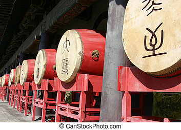 tradicional, torre, -, china, xian, chino, tambor, tambores