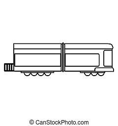 tradicional, trem vagão, esboço, transporte
