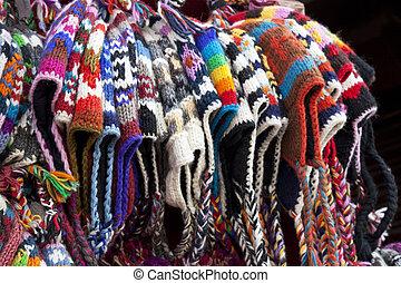 tradicional, tricotado, chapéus, nepalese, woolen