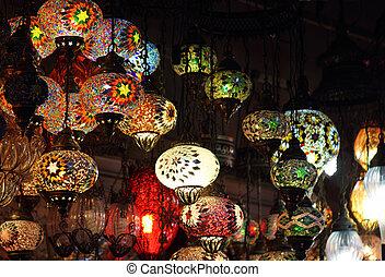tradicional, vendimia, lámparas, turco