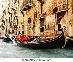 tradicional, veneza, gandola, passeio