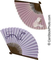 tradicional, ventilador, japoneses