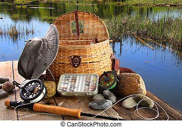 tradicional, vuele pesca, barra, con, equipo