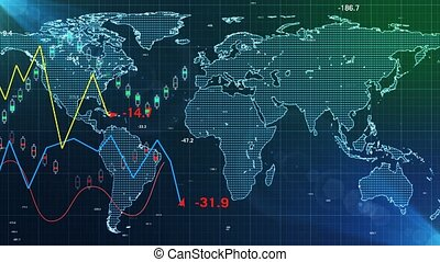 """Trading and map world abstract financial chart"""