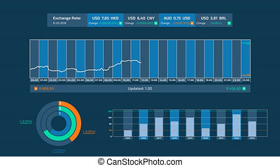 Trading and stock exchange infographics on alpha channel. - ...