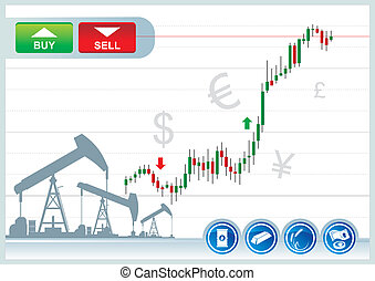 trading background - trading candles chart on a white...