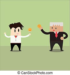Trading. businessman exchange ideas and money
