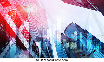Trading buy and sell concept on futuristic modern city wallpaper.