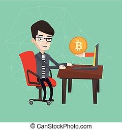 trading., homem, bitcoin, moeda, obtendo