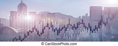 Trading investment chart graph city skyline view double exposure website panoramic header banner.