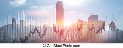 Trading investment chart graph city skyline view double exposure website panoramic header banner