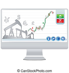 trading on line on lcd and white background