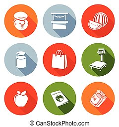 Trading on the market Icons Set. Vector Illustration.
