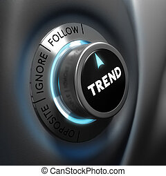 Trading, Trend Following - Trading concept, trend button...