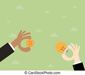 Trading.Hand businessman exchange ideas and money