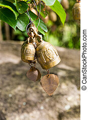 Tradition asian bells in Buddhism temple in Phuket island,Thailand. Famous Big Buddha wish bells