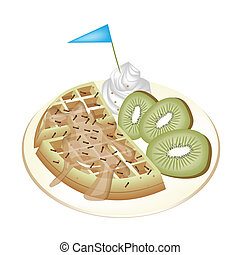 Tradition Waffle with Kiwi and Whipped Cream.