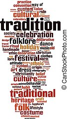 Tradition word cloud concept. Vector illustration