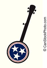 Traditional 5 String Banjo Silhouette With New Tennessee Icon