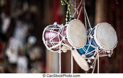 Traditional african drums on a market