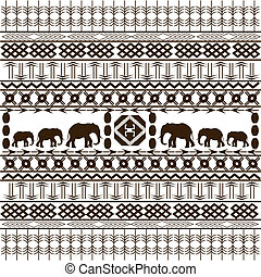 Traditional African pattern with elephants silhouettes