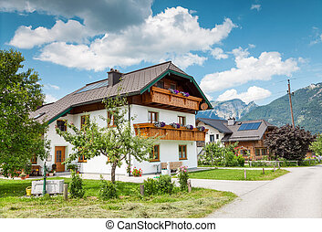 Beautiful traditional Alpine house in the mountains
