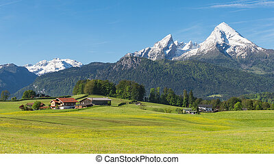 Traditional Alpine spring panoramic landscape in...