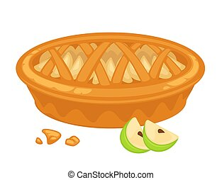 Traditional American apple pie with open top and crispy...