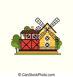 Traditional american barn and windmill, countryside construction vector Illustrations isolated on a white background