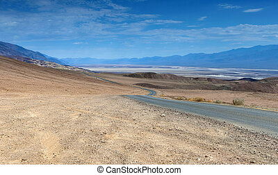 Traditional American Scenic Long Highway in the Mountains of Death Valley National Patk in California, USA