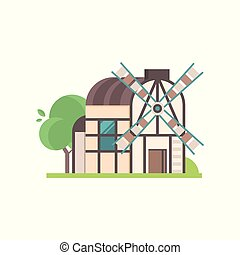 Traditional ancient rural windmill, ecological agricultural manufacturing vector Illustrations on a white background