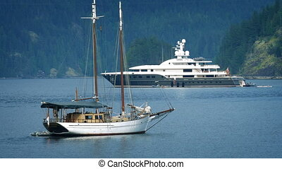 Traditional And Modern Yachts In The Bay