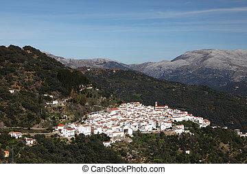 Traditional Andalusian white village (pueblo blanco) Algatocin. Province of Malaga, Spain